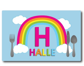 Little Girls Birthday Gift, Kids Personalized Placemat Rainbow Print