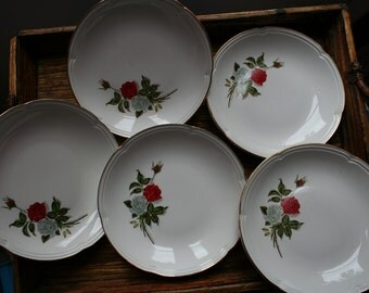 5 Dessert, Salad or Spaghetti Plates Shallow Bowls French Retro Vintage 1950s