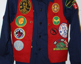 Vintage Boy Scout Shirt with Brag Vest and  Patches