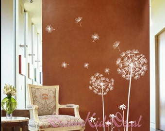 Dandelion wall decal flower wall decal floral wall sticker decal Nursery room wall decal-White Dandelions with seeds-DK147