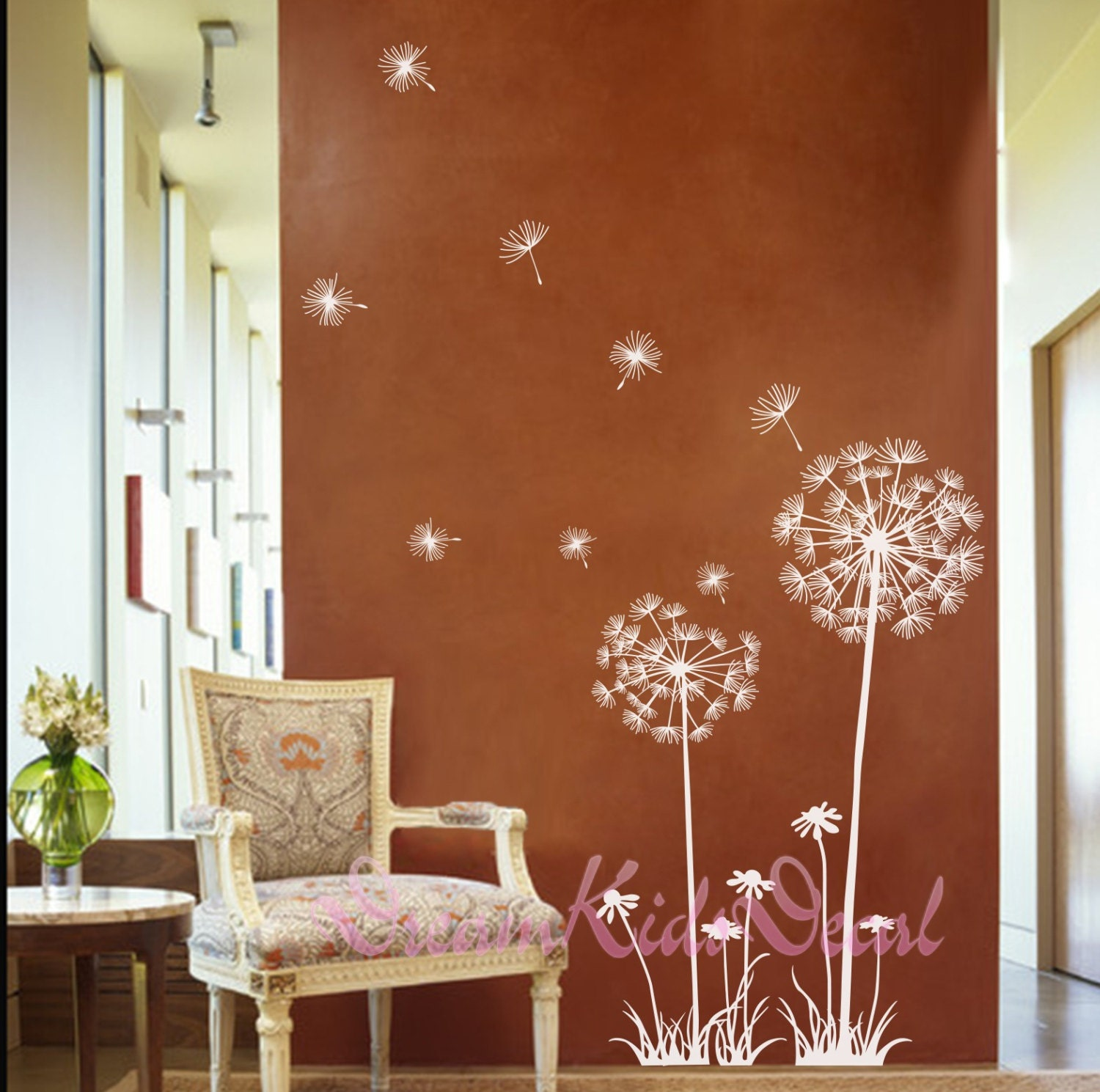 Dandelion wall decal flower wall decal floral wall sticker