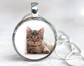 Cat necklace - cat pendant necklace - Cat Jewelry - Cat Photo Necklaces - Cat Glass Dome Necklace (CN3)