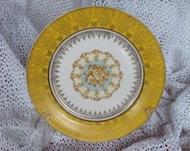 Rare Limoges Plate - Triumph American - Plate is a Rare Triumph 11 inch Deep Yellow Sebring A 5 Plate with 22 K Gold Accents