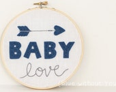 Embroidery and Felt Hoop Art with Customizable Colors and Fabric - Baby Love with Cupid Arrow on Linen Background - Blue and Gray