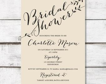 Printable Bridal Shower Invitation - Trailing Vine