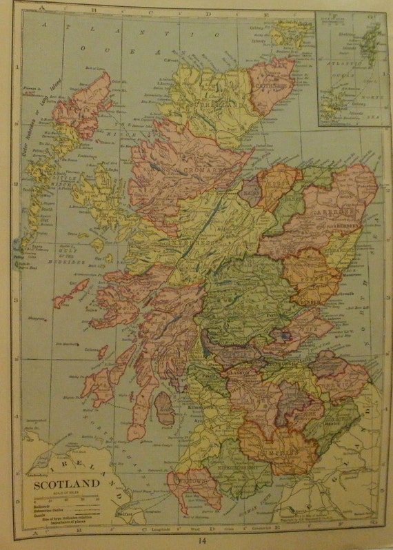 Items similar to Scotland MapShetland IslandsAberdeen Edinburgh