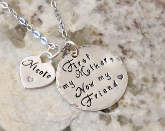 Hand Stamped Personalized Mother Daughter Sterling Silver Necklace - Mom Daughter Jewelry