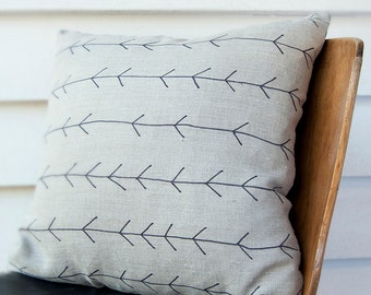 Arrow cushion with soft leather- Hand drawn on linen