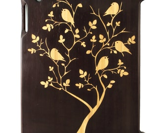 Charred Bamboo iPad 2,3,4 case, Birds In Tree design UK