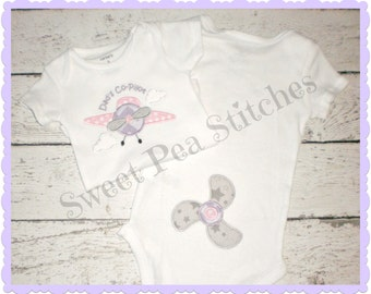 Dad's Co Pilot Shirt, Bodysuit,Tee,Infant Gown - Embroidered Shirt - Airplane Shirt - Baby Shower Gift