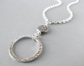 Silver Eyeglass Holder - Swirls - Reading Glasses Chain - Chain for Glasses - Chaîne de Lunettes - Silver Chain Lanyard - Eyeglass Lanyard