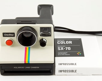 Vintage Polaroid OneStep SX-70 White Rainbow Stripe Instant Camera with 1 Pack of New Impossible Project Color Film - Tested & Working