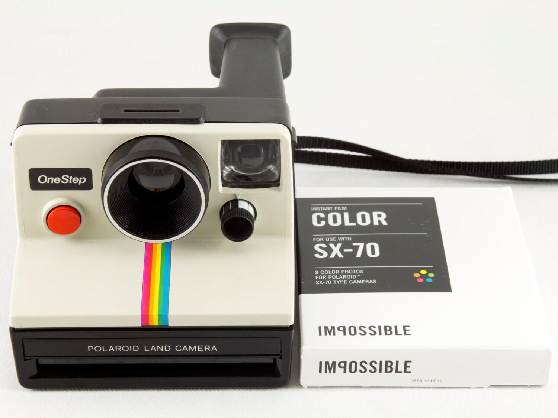 Vintage Polaroid OneStep SX-70 White Rainbow Stripe Instant