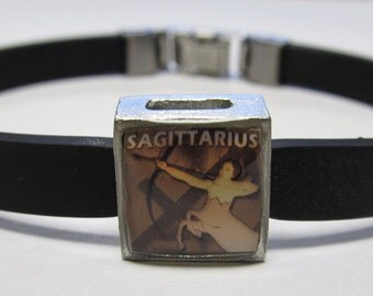 The Centaur Sagittarius Zodiac Sign Link With Choice Of Colored Band Charm Bracelet