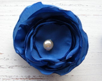 fabric brooch - flower pin - petal brooch - textile brooch - blue flower brooch - textile pin - uk seller