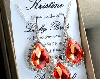 Burnt orange , coral orange ,coral ,Bridesmaid Wedding Bridal Bridesmaid Jewelry-Bridesmaid gifts ,personalized NECKLACE , monogrammed gifts