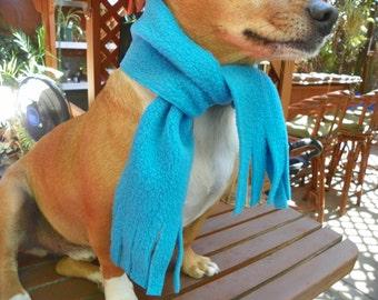 Dog Scarf  Turquoise Blue Fleece Pet Scarf  Size XXSmall-XXXLarge