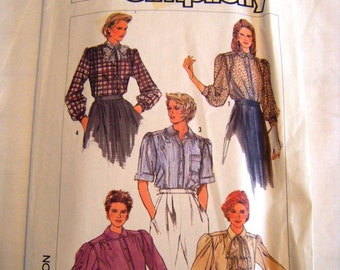 Vintage 1980s Simplicity 7230 misses blouse in five variations sewing pattern