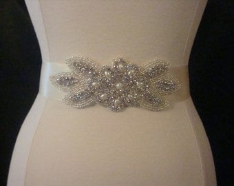 Bridal Sash - Wedding Dress Sash Belt - Pearl and Rhinestone Ivory Sash - Ivory Rhinestone Bridal Sash