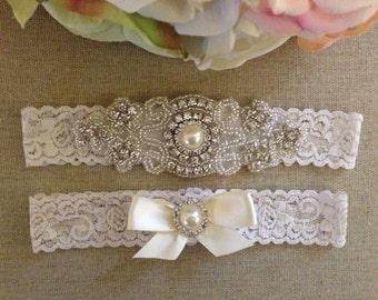Wedding Garter - Bridal Garter - Crystal Rhinestone and Pearl Garter and Toss Garter Set