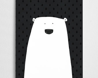 Sale! Polar bear illustration, cute art print //  Polar