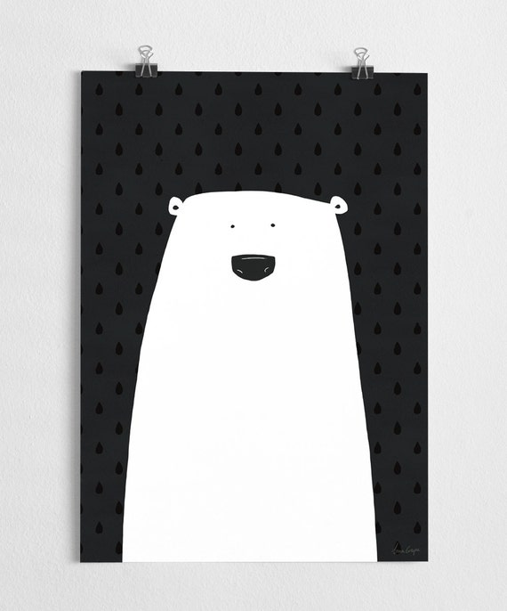 sale polar bear illustration cute art print polar. Black Bedroom Furniture Sets. Home Design Ideas