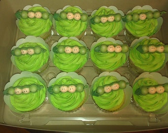 Baby shower peas in a Pod cake toppers. Twins Cake Toppers. Peas in the Pod cake topper.