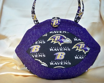 Football, Ravens, purse, pocketbook, purple and black, stands on it's own