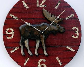 "Lodge Clock, 17"" Cabin Clock, Rustic Clock, Qall clock, Moose Clock with carved moose"