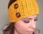 Mustard yellow two button ear warmer headband FREE SHIPPING