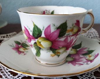 Royal Vale Tea Cup & Saucer Fuchsia Flower