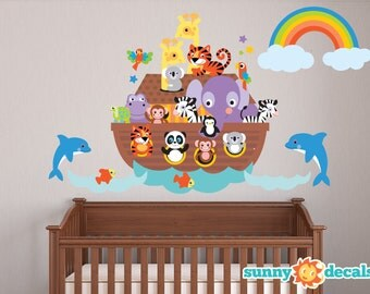 Noahs Ark Fabric Wall Decal, Repositionable and Reusable with Giraffes, Zebras, Monkeys, Tigers, Panda, Hippo and Much More! by Sunny Decals