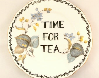Time for Tea Lover Floral Vintage Decorative Side Plate Saucer England Bone China Teacup Flowers Pretty Decoration Gift Autumn Fall Colours