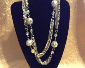 AUTHENTIC Silver Multi Chain and AB Crystal Necklace