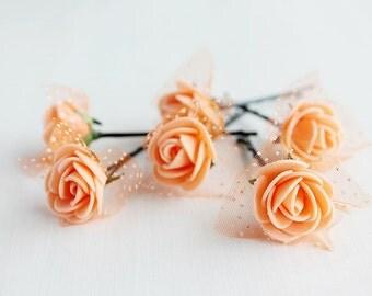 Coral Rose Hair Pins, Bridal Bobby Pins, Wedding Hair Pins, Flower Hair Pins, Coral Bridal Pins, Rose Bobby Pins, Bridesmaid Hair Pins, Boho