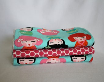Baby Girl Burp Cloths - Polka Dots and Tokyo Dolls - Burp Pads, Cotton and Soft Chenille - Shower Gift, Pink, Turquoise, Black, Polka Dots