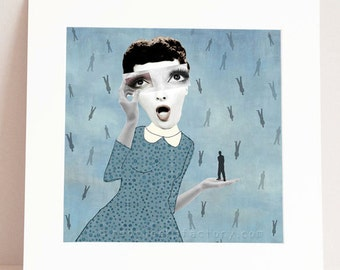 giclee print  - it's raining men - collage in blue - blue art print - vintage portrait - blue wall decor
