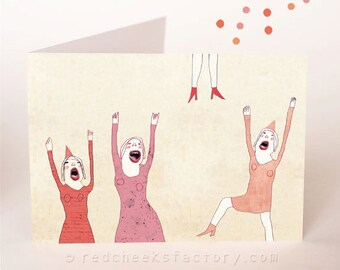 party postcard - hurray - birthday greeting card - Illustration - party card - jumping girls - happy birthay  -  celebration - ladies party