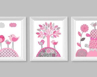 Gray and Pink Nursery Art, Girl's Room Decor, Birds and Turtles, Playroom Decor, Baby Shower Gift, Baby Girl Wall Art, Nursery Wall Decor