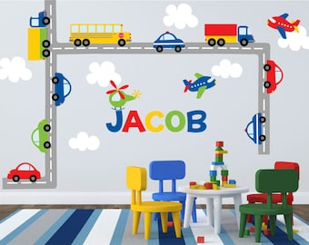 Car Decal - Construction Decal -Plane Decal- Transportation Decal - Truck Decal - Boy Wall Decal - Nursery Wall Decal - Name Wall Decals