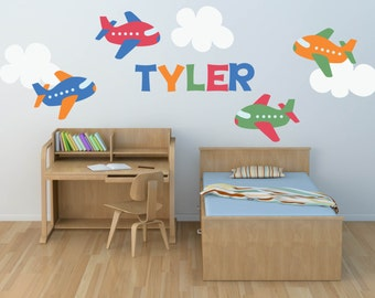 Plane Decal- Name Decal - Plane Wall Decal -Nursery Wall Decal- Transportation Decal - Boy Wall Decal - Personalized Name Decal - Wall Decal