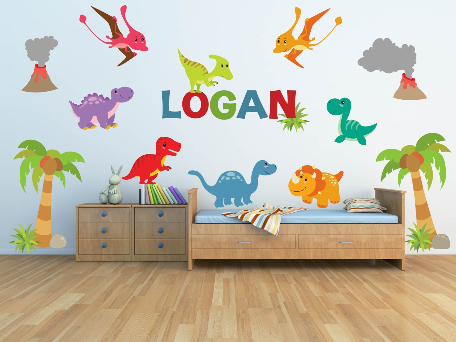 zoom. Dinosaur Wall Decal for Kids Bedroom Personalized Name