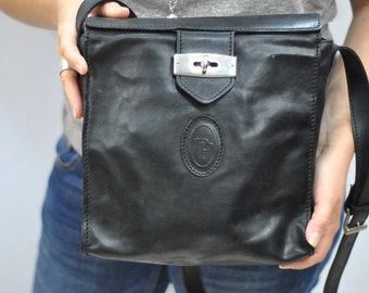 Vintage POLINI GIANCARLO leather bag , messenger leather bag ...(336)