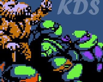NES TMNT Square - Splinter & Turtles Cross Stitch Pattern