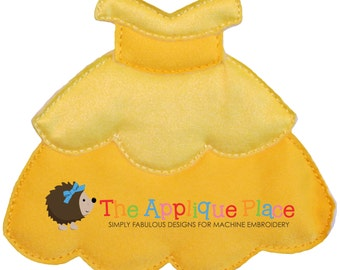 Dress Up Doll * Yellow Princess Gown* Paperless Unpaper Cloth doll outfit In The Hoop ITH Machine Embroidery Applique Design