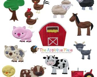 Set of 14 Farm Animal Machine Embroidery Applique Designs