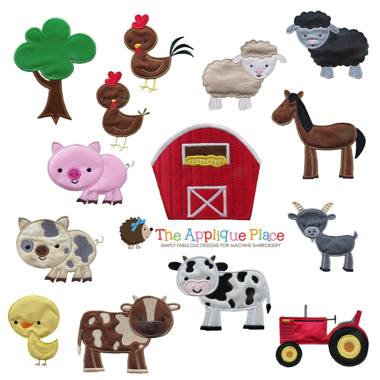 Farm animal applique design instant digital download file