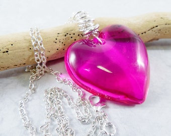 Hot Pink Glass Heart Necklace/ Puffy Heart Pendant