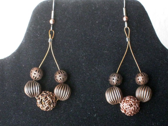 Copper beads loop earrings - Original beads work - Handmade dangle earrings - one of a kind