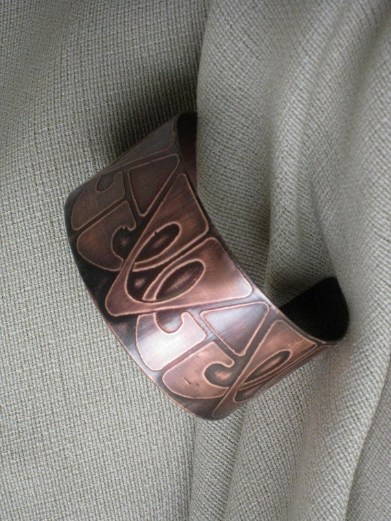 Copper Cuff - Handmade - One of a kind - Original Art Deco pattern